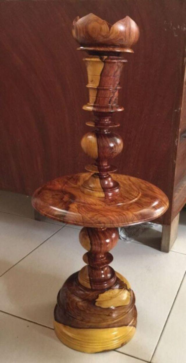 Cặp chân đèn nến gỗ cẩm lai